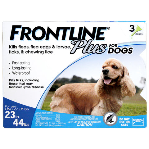 Frontline Plus, Dogs 23-44 lbs (3 Doses) - Peazz Pet