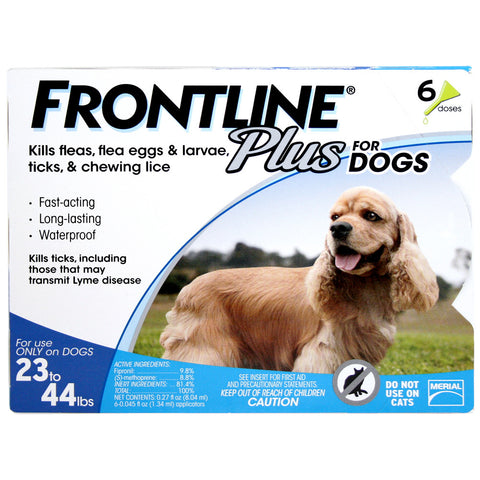 Frontline Plus, Dogs 23-44 lbs (6 Doses) - Peazz Pet