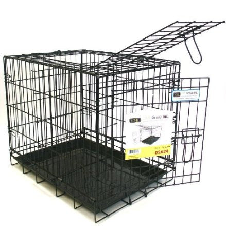 "YML Group DSA24 24"" Foldable Heavy Duty 2 Door Dog Crate"