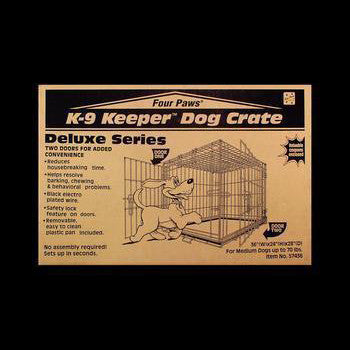 K - 9 Keeper Deluxe Crate Dbl Door 36 X 24 X 28 - Peazz Pet