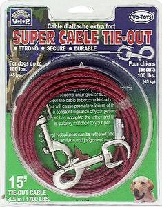 1700lb Tieout Cable 15ft - Peazz Pet