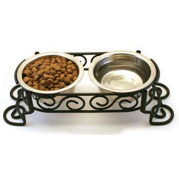 Scroll Work Stainless Steel Double Diner 1 - pint (5849) - Peazz Pet