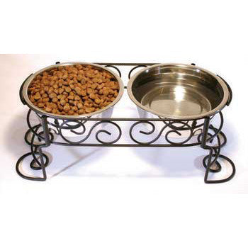 Scroll Work Stainless Steel Double Diner 2 - quart (5851) - Peazz Pet