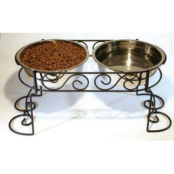 Scroll Work Stainless Steel Double Diner 3 - quart (5852) - Peazz Pet