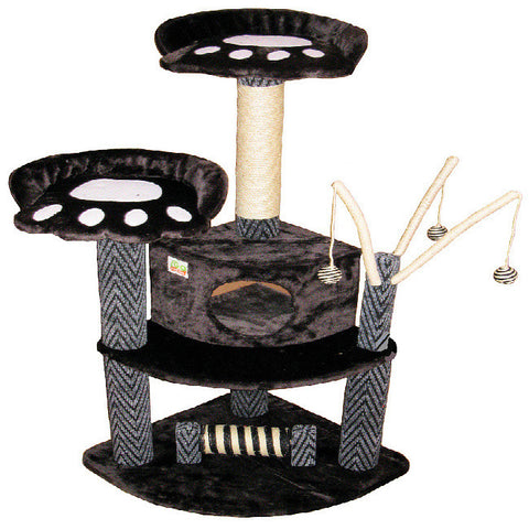"GoPetClub Cat Tree Furniture Black 50"" (F19) - Peazz Pet"