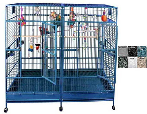 "A&E Cage 8040FL Platinum  80""x40"" Double Macaw Cage with Divider - Peazz Pet"