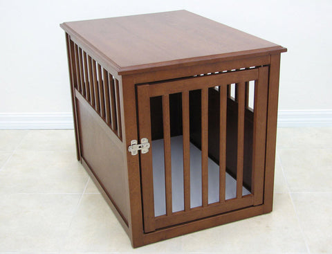 Crown Pet Crate Table, Medium size, with Mahogany Finish - Peazz Pet