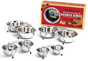 Stainless Steel Double Diner Stainless Steel 2 Quart (6316) - Peazz Pet