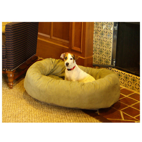 "Majestic Pet 32"" Bagel Dog Pet Bed Suede Sage - Peazz Pet"