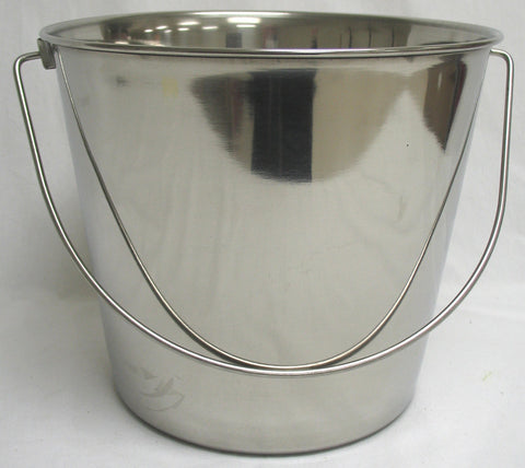 Stnls Steel Pail With Handle Stainless Steel 9 Quart (6443) - Peazz Pet