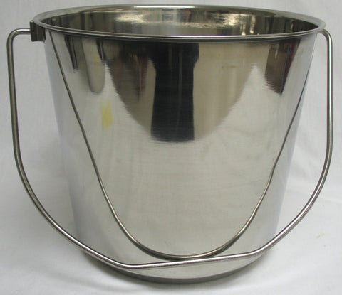 Stnls Steel Pail With Handle Stainless Steel 13 Quart (6440) - Peazz Pet