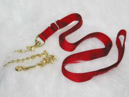 Nylon Lead with Chain & Snap - Red 7 FT (17D24 RD) - Peazz Pet