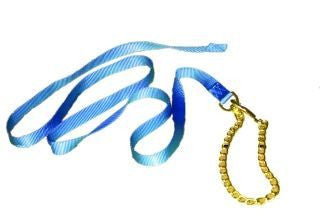 Nylon Lead with Chain & Snap - Blue 7 FT (17D24 BL) - Peazz Pet