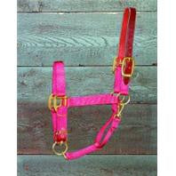 3-5 Adjustable Horse Halter with Leather Headpole - Red Yearling (1DALSS YRRD) - Peazz Pet