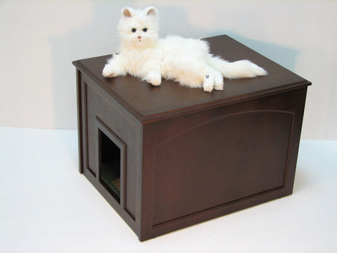 Crown Pet Cat Litter Cabinet with Espresso Finish - Peazz Pet