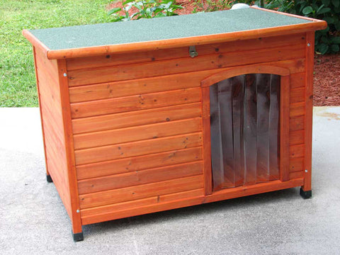 Crown Pet Slant Roof Cedar Dog House - Large Size - Peazz Pet