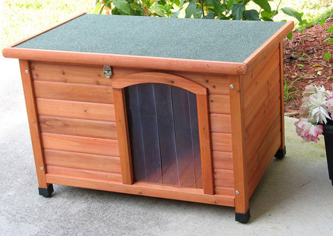 Crown Pet Slant Roof Cedar Dog House - Small Size - Peazz Pet