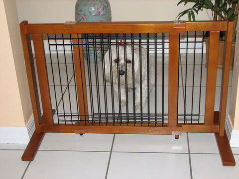 "Crown Pet Freestanding Wood/Wire Pet Gate, Rubberwood 21"" High -Small Span - Peazz Pet"