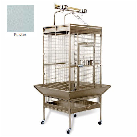 Medium Wrought Iron Select Bird Cage - Pewter - Peazz Pet