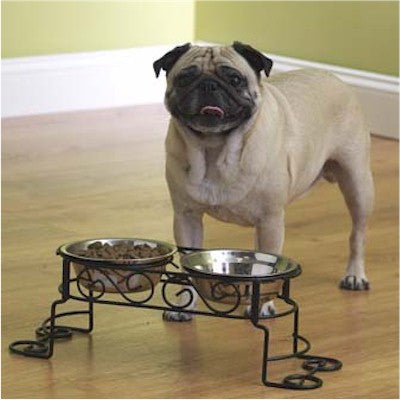 Small Scroll Elevated Feeder - Peazz Pet