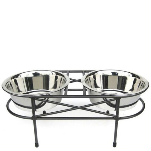 Mesh Elevated Double Dog Bowl - Medium - Peazz Pet