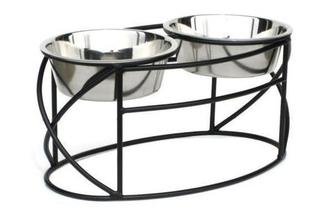 Oval Cross Double Raised Pet Feeder - Medium - Peazz Pet