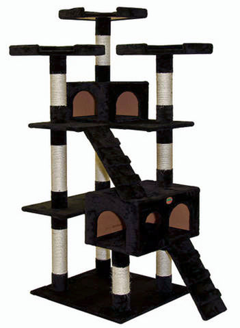 "GoPetClub Cat Tree Furniture Black 72"" (F2083) - Peazz Pet"