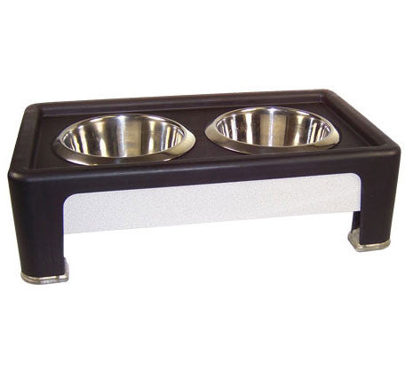"Our Pets Signature Series Feeder 4"" Elevated Healthy Pet Diner Black & Stainless (HF04BS) - Peazz Pet"
