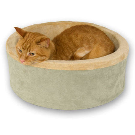 "K&H Manufacturing Sage Thermo Kitty Bed 16"" Dia x 6"" H (KH3193) - Peazz Pet"