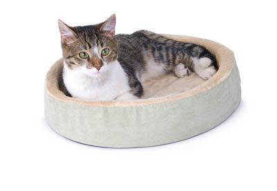 "K&H Manufacturing Thermo-Kitty Cuddle Up - Mocha - 16"" Diameter (KH3701) - Peazz Pet"