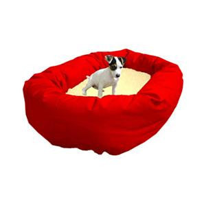 "Majestic Pet Medium 32"" Bagel Bed - Red & Sherpa - Peazz Pet"