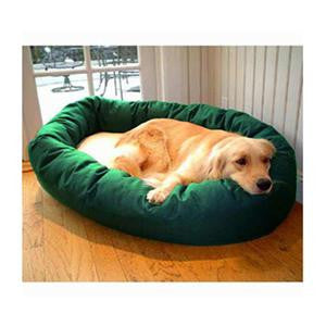 "Majestic Pet Large 40"" Bagel Bed - Green & Sherpa - Peazz Pet"