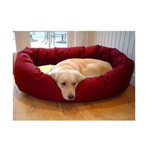 "Majestic Pet Large 40"" Bagel Bed - Burgundy & Sherpa - Peazz Pet"