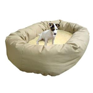 "Majestic Pet Large 40"" Bagel Bed - Khaki & Sherpa - Peazz Pet"