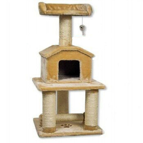"GoPetClub Cat Tree Furniture Beige 45"" (F04) - Peazz Pet"