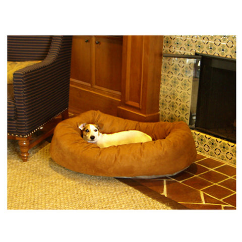 "Majestic Pet 24"" Bagel Dog Pet Bed Suede Rust - Peazz Pet"