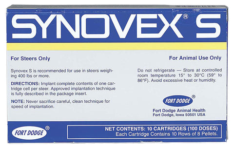 Synovex S Steer Implants, 10 x 10 Cartridges [100 Doses] - Peazz Pet