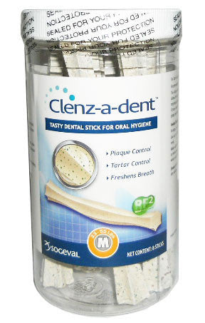 Clenz-A-Dent Dental Chew Sticks For Medium Dogs, 8 Chews - Peazz Pet