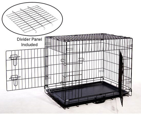 "MDOG2 CR0001M-BLK Folding Double-Door Metal Dog Crate with Divider Panel - 30"" x 21"" x 24"" - Peazz Pet"