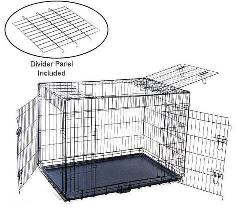 "MDOG2 CR0001XL-BLK Folding Triple-Door Metal Dog Crate with Divider Panel - 42"" x 29"" x 33"" - Peazz Pet"