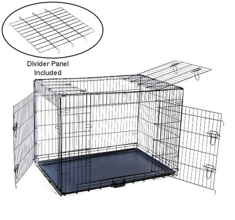 "MDOG2 CR0001XXL-BLK Folding Triple-Door Metal Dog Crate with Divider Panel - 48"" x 30"" x 33"" - Peazz Pet"