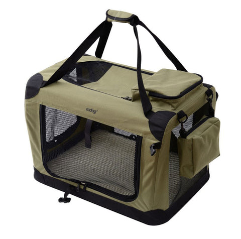 MDog2 Portable Soft Crate 36 x 25 x 25 - Sage Green (XL) - Peazz Pet