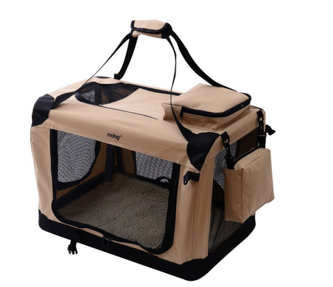 MDog2 Portable Soft Crate 40 x 27 x 27 - Sand (XXL) - Peazz Pet