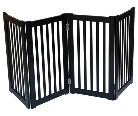 "MDOG2 MK806-720BL 4-Panel Free Standing Pet Gate 72""W x 32""H - Black - Peazz Pet"
