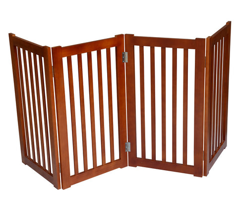 "MDOG2 MK806-720LO 4-Panel Free Standing Pet Gate 72""W x 32""H - Light Oak - Peazz Pet"
