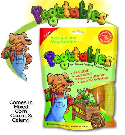 Pegetables Dental Chews, Mixed Vegetables - Medium, 8 oz. - Peazz Pet