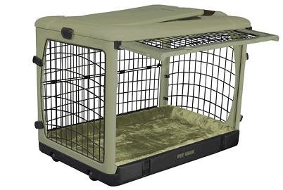 "Pet Gear The Other Door Steel Crate with Plush Pad Sage 27"" (PG5927BSG) - Peazz Pet"