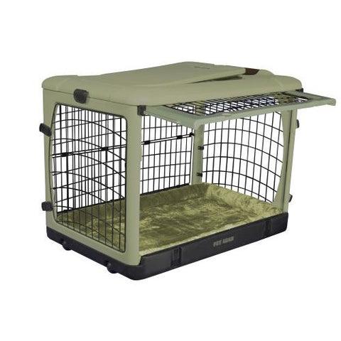 "Pet Gear The Other Door Steel Crate with Plush Pad Sage 42"" (PG5942BSG) - Peazz Pet"