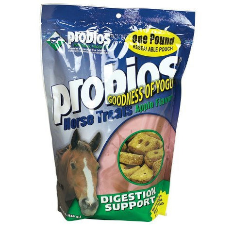 Probios Horse Treats, Digestion and Support, 1 lb. Pouch Apple Flavored - Peazz Pet