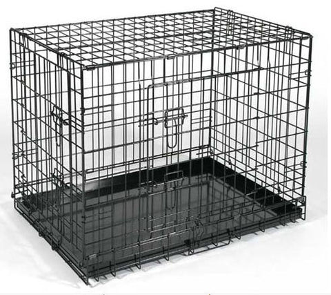 "QPets QPC-100M Folding Dog Kennel Crate Cage w/ ABS Tray 24""L x 17""W x 20""H for Medium Dogs - Peazz Pet"